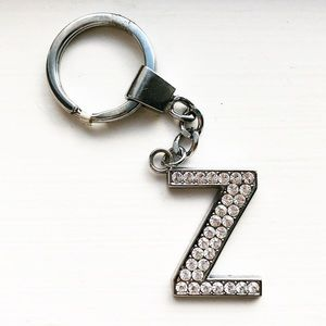 """Accessories - Silver bejeweled rhinestone """"Z"""" letter keychain"""